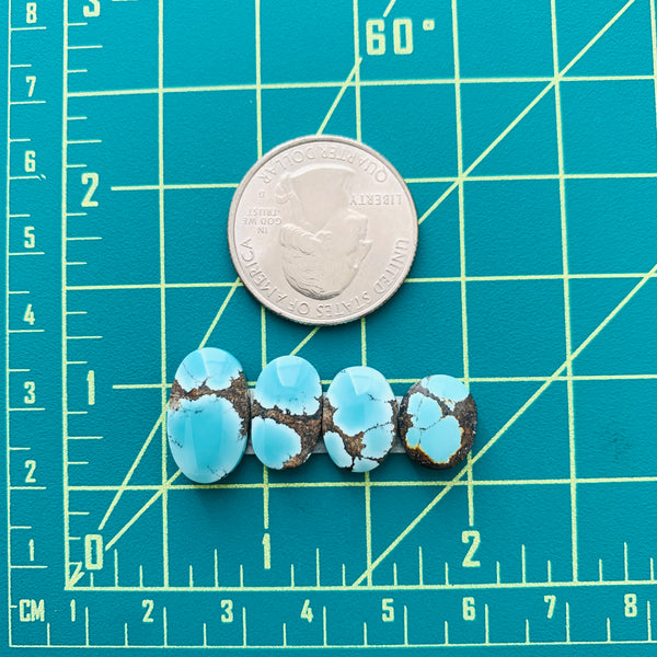 Small Sky Blue Oval Yungai Turquoise, Set of 4 Dimensions