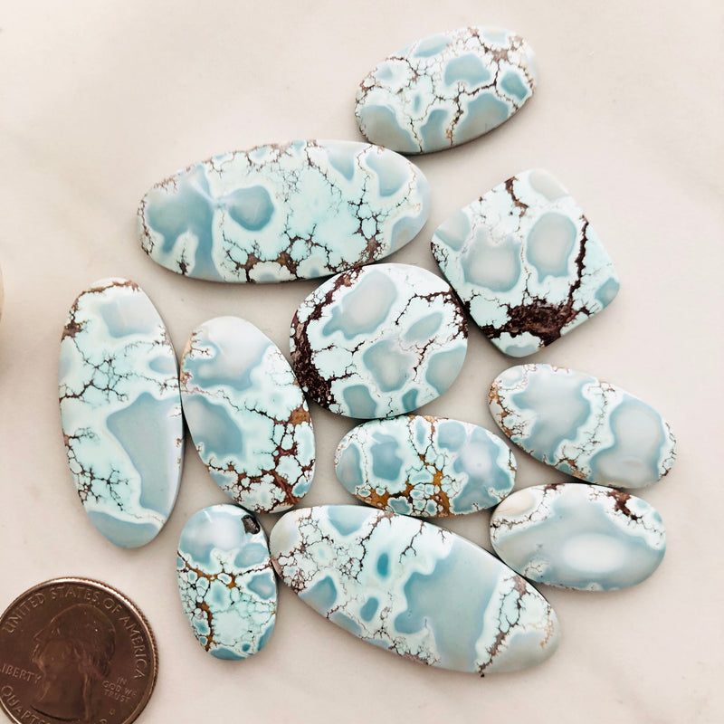Medium , Large Oval Treasure Mountain Turquoise, Set of 11