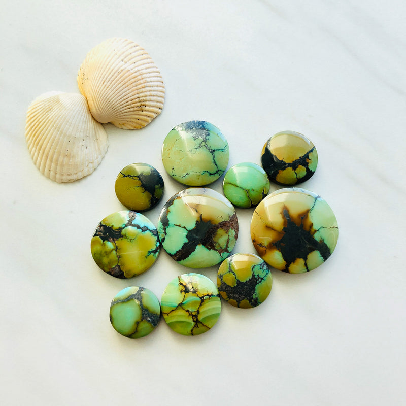 Mix Round Treasure Mountain Turquoise, Set of 10
