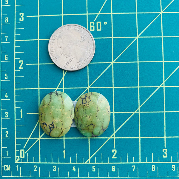 Large Sea Green Oval Treasure Mountain, Set of 2 Dimensions