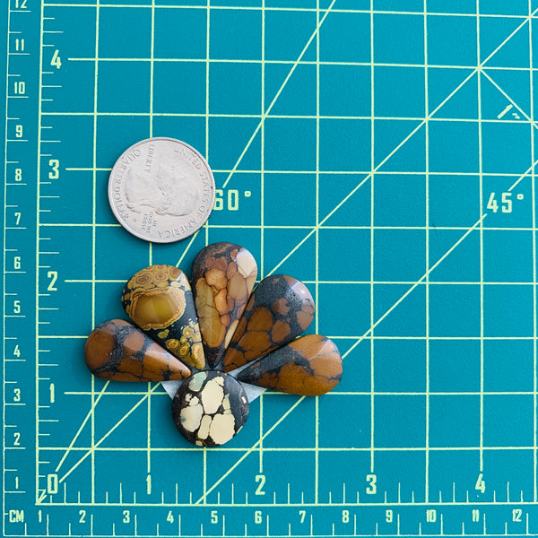 Large Earth Brown Mixed Treasure Mountain, Set of 6 Dimensions