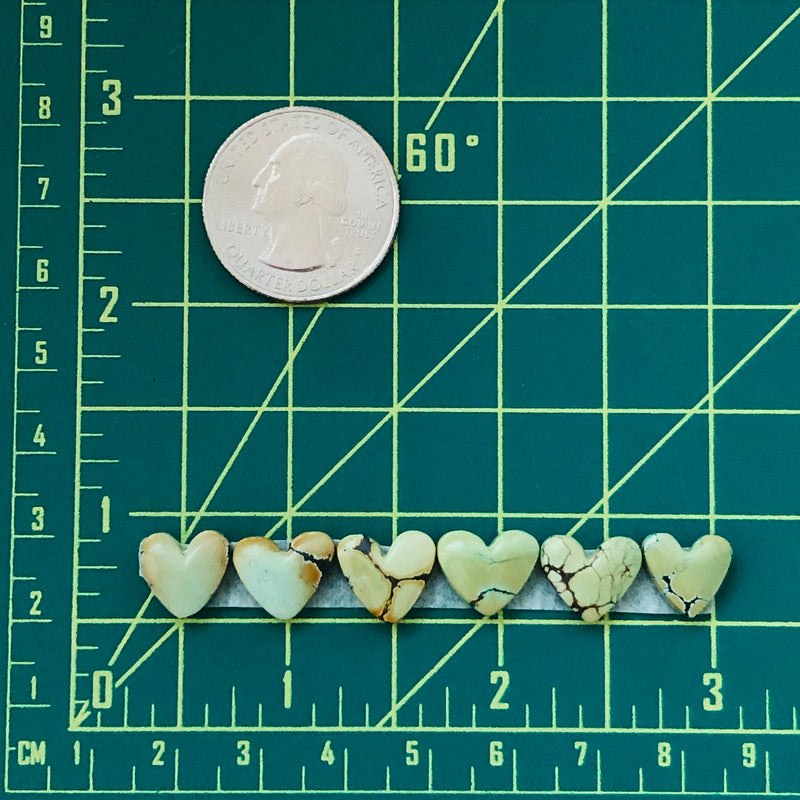 Small Heart Treasure Mountain Turquoise, Set of 6