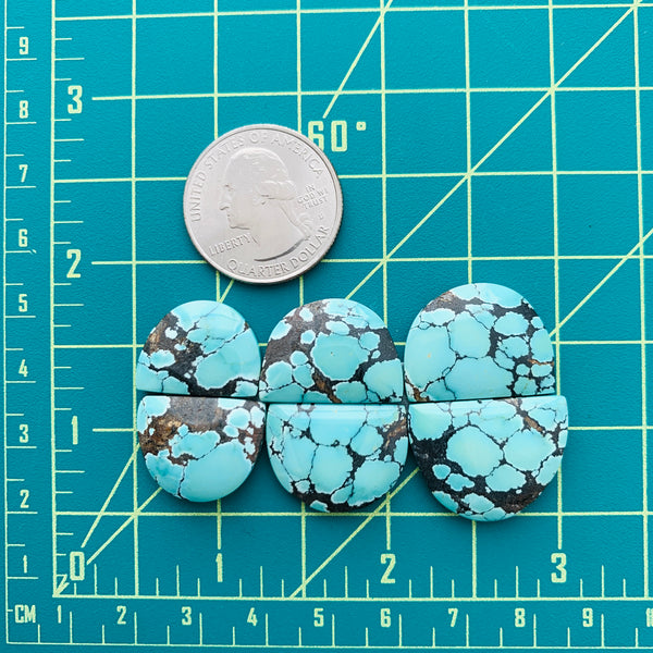 Large Sea Green Half Moon Treasure Mountain Turquoise, Set of 6 Dimensions