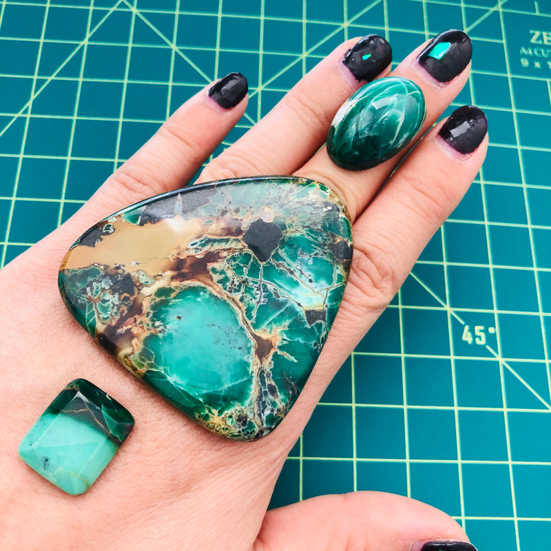 Giant Mixed Crescent Lake Variscite, Set of 3