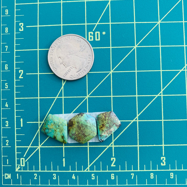 Medium Sea Green Mixed Treasure Mountain, Set of 3 Dimensions