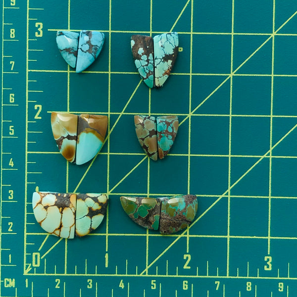 Small Triangle Treasure Mountain Turquoise, Set of 12