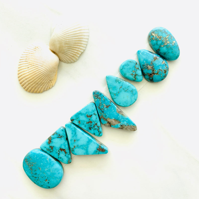 Large Sky Blue White Water Turquoise, Set of 9