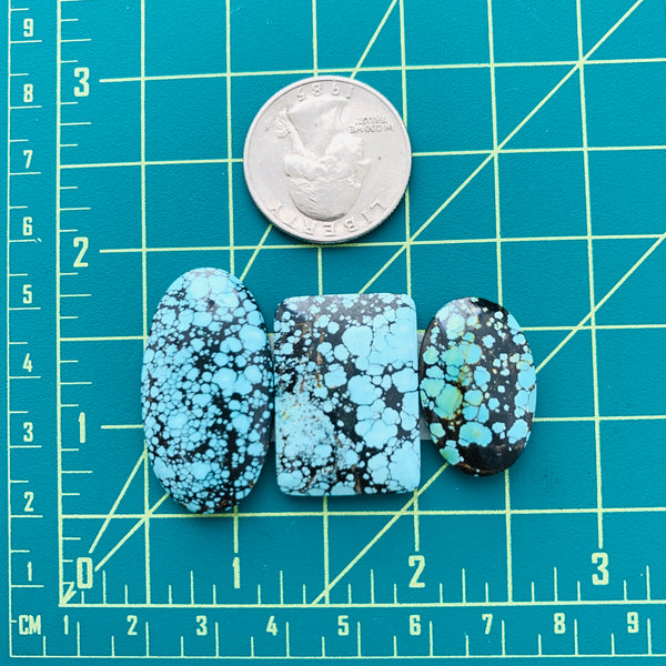 Large Sky Blue Mixed Yungai Turquoise, Set of 3 Dimensions