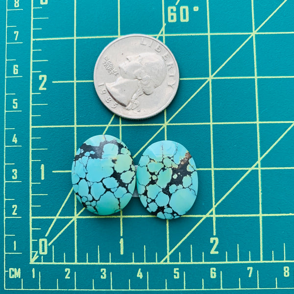 Medium Sea Green Oval Treasure Mountain Turquoise, Set of 2 Dimensions