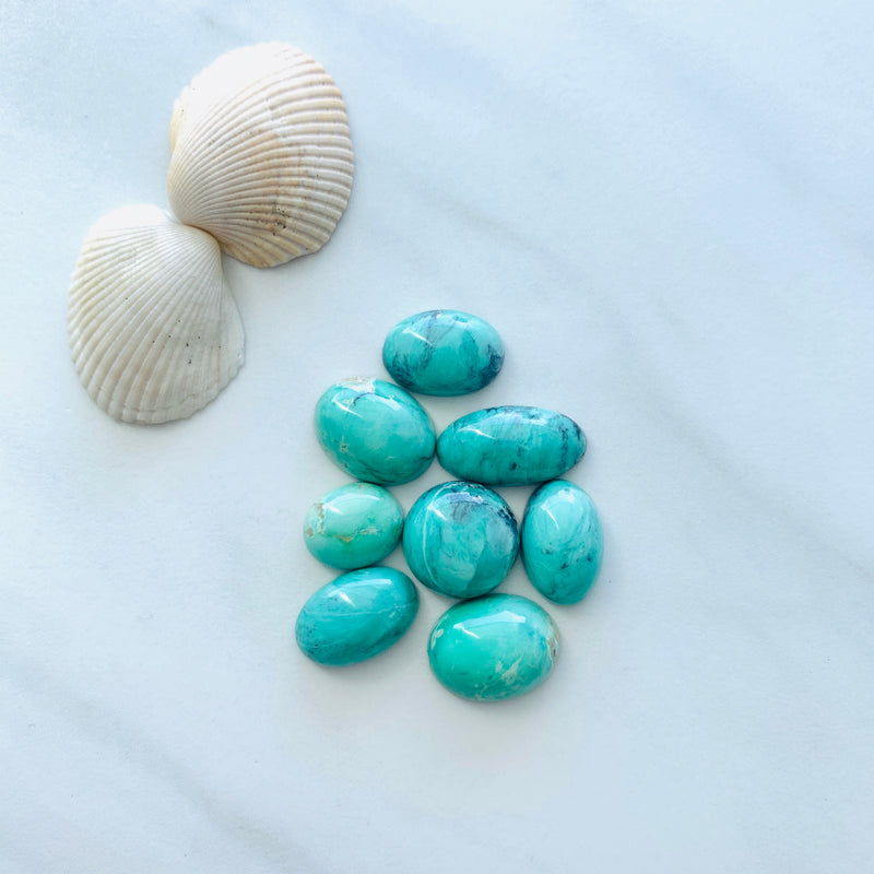Medium Mint Green Crescent Lake Variscite, Set of 8