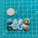 Round Sky Blue Mixed, Set of 8 Dimensions