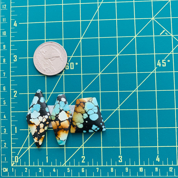 Large Sky Blue Mixed Treasure Mountain, Set of 3 Dimensions