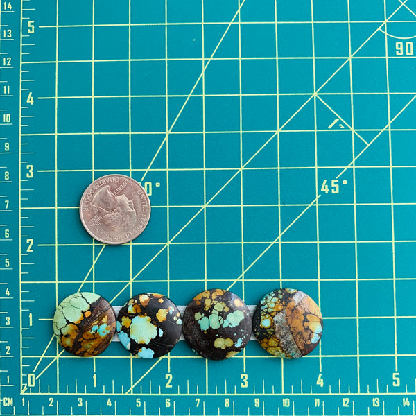 Large Sky Blue Round Treasure Mountain, Set of 4 Dimensions