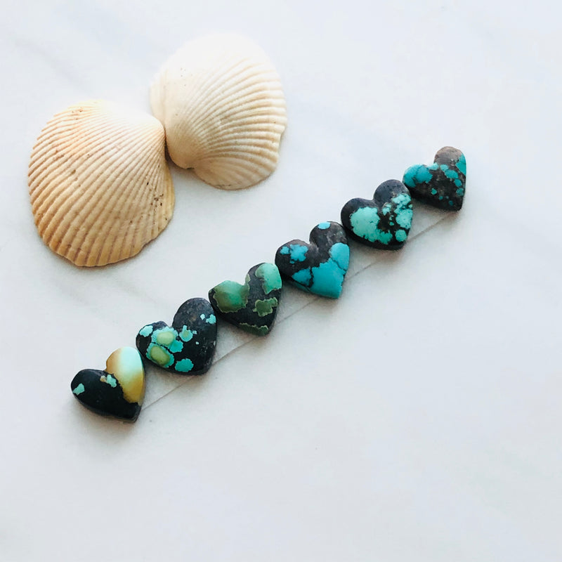 Small Heart Yungai Turquoise, Set of 6