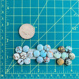 Small Faint Blue Round Sand Hill, Set of 21 Dimensions