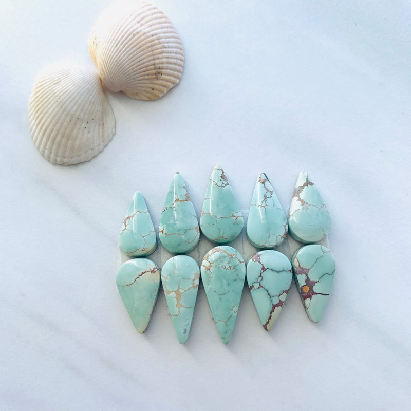 Medium Teardrop Sand Hill Turquoise, Set of 10