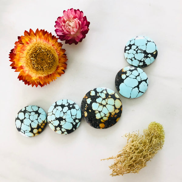 Treasure Mountain Turquoise Perfect Smoky Rounds Set All Natural