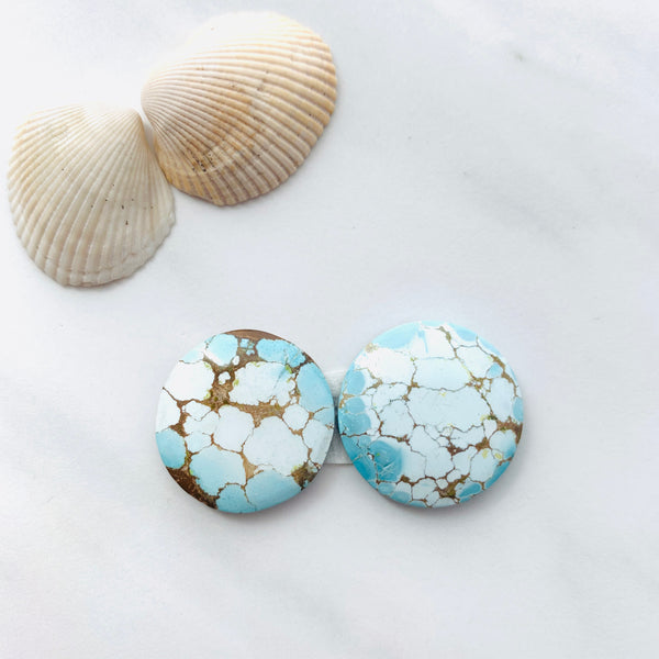 Large Faint Blue Sand Hill Turquoise, Set of 2