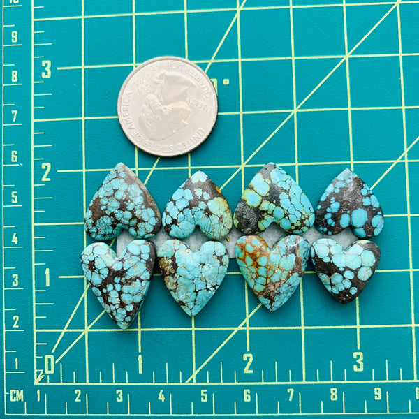Medium Sky Blue Heart Yungai Turquoise, Set of 8 Dimensions