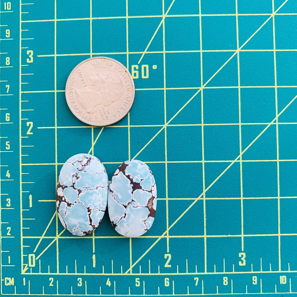 Large Faint Blue Oval Sand Hill, Set of 2 Dimensions