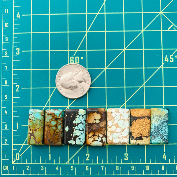 Medium Mixed Bar Mixed Turquoise, Set of 7 Dimensions