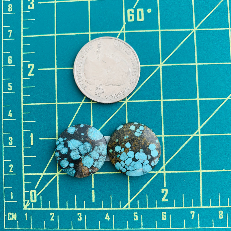 Small Sky Blue Round Yungai, Set of 2 Dimensions