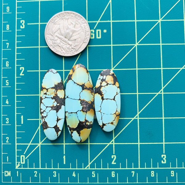 Large Faint Blue Surfboard Treasure Mountain Turquoise, Set of 3 Dimensions