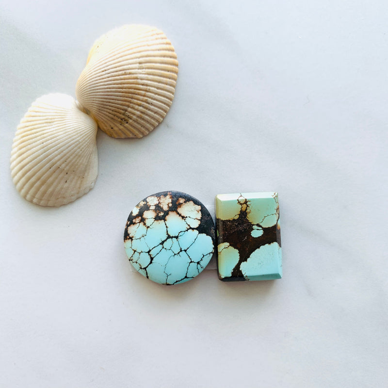 Medium Faint Blue , Red Yungai Turquoise, Set of 2