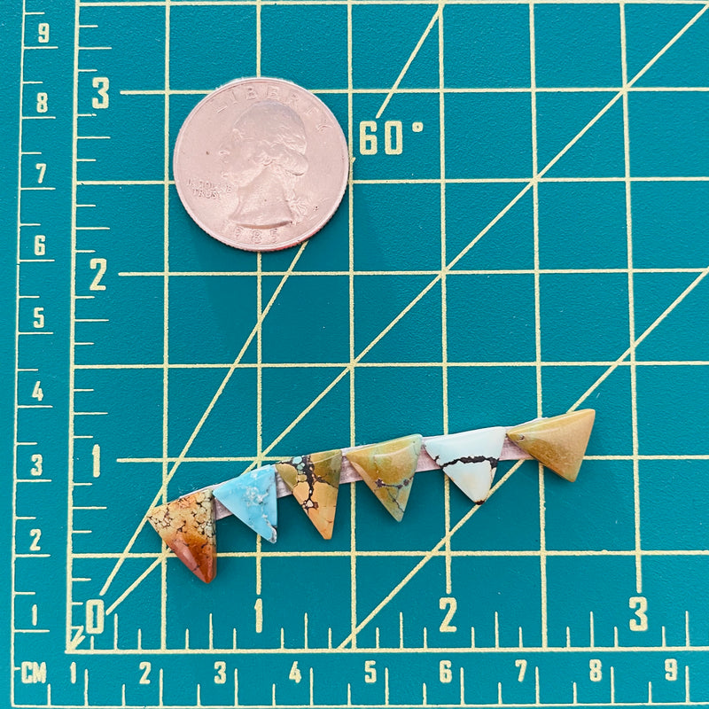 Small Mixed Triangle Mixed, Set of 6 Dimensions