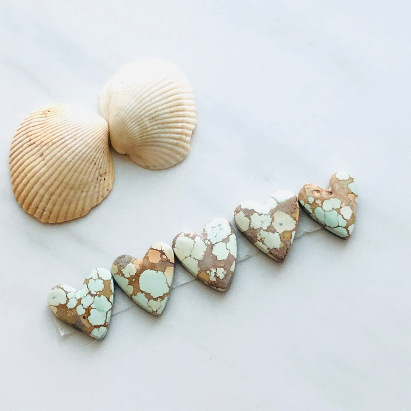 Medium Heart Sand Hill Turquoise, Set of 5