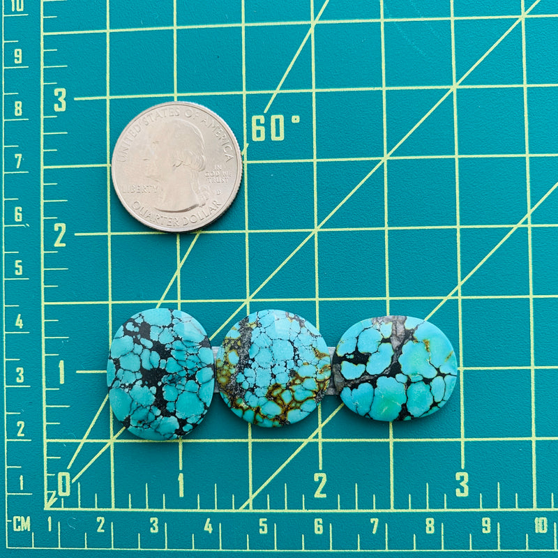 Medium Sky Blue Yungai Turquoise, Set of 3