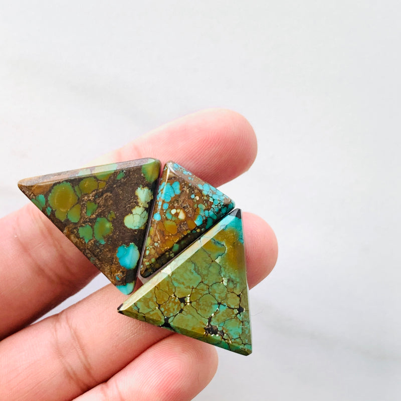 Medium Sky Blue , Orange Treasure Mountain Turquoise, Set of 3
