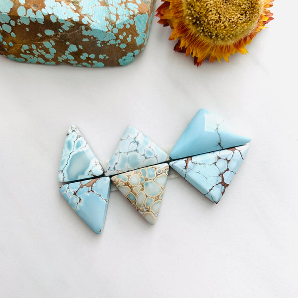 Medium Faint Blue Triangle Sand Hill Turquoise, Set of 6 Background