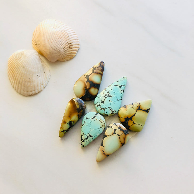 Medium Teardrop Treasure Mountain Turquoise, Set of 6