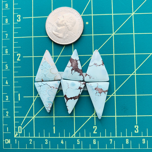 Medium Faint Blue Triangle Sand Hill Turquoise, Set of 6 Dimensions