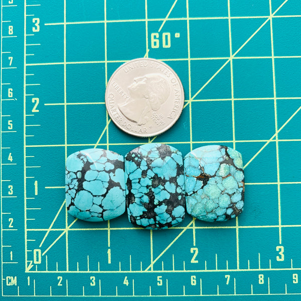 Large Sky Blue Barrel Yungai Turquoise, Set of 3 Dimensions