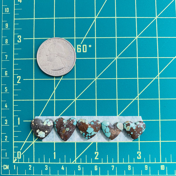 Medium Sea Green Heart Treasure Mountain, Set of 5 Dimensions