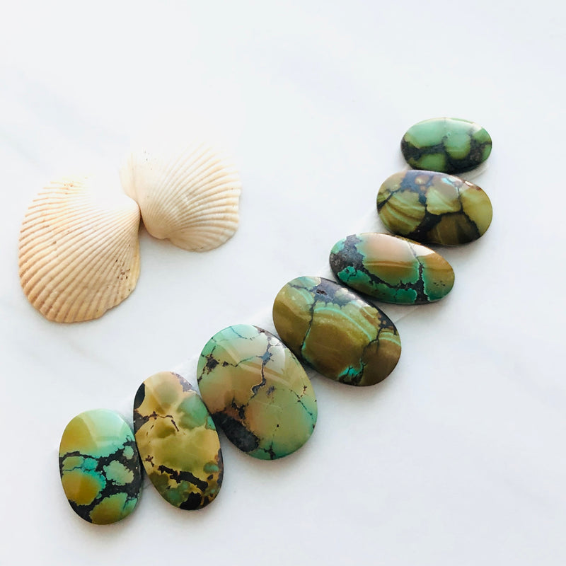 Large Oval Bamboo Mountain Turquoise, Set of 7