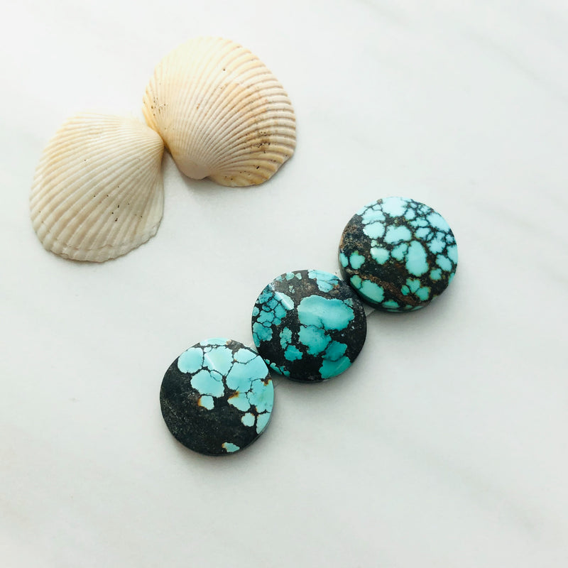 Small Round Yungai Turquoise, Set of 3