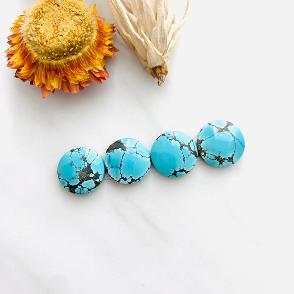 Small Sky Blue Round Yungai Turquoise, Set of 4 Background