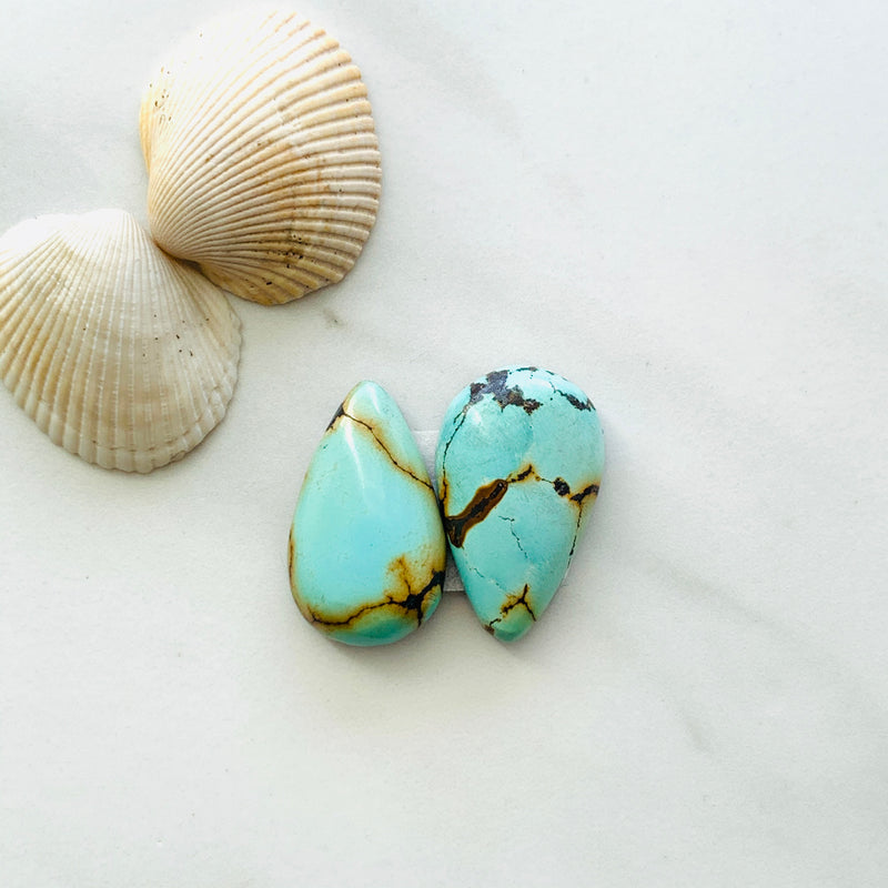 Medium Teardrop Treasure Mountain Turquoise, Set of 2
