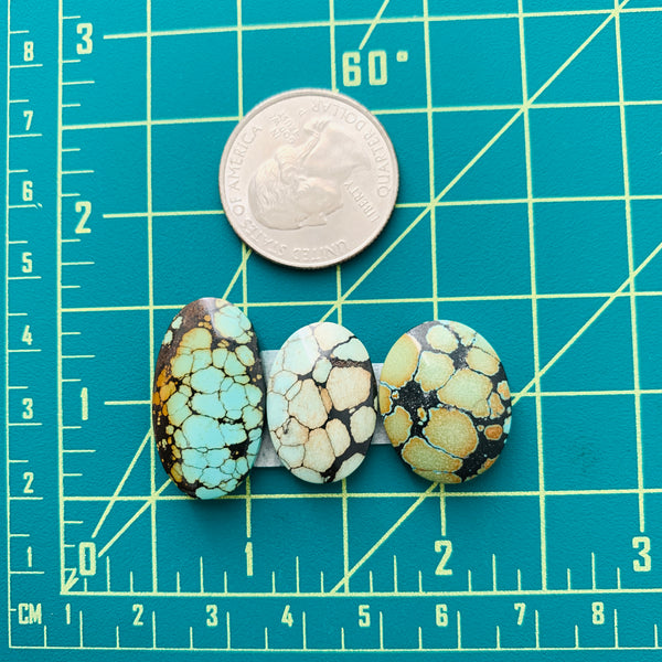 Medium Mixed Oval Mixed Turquoise, Set of 3 Dimensions