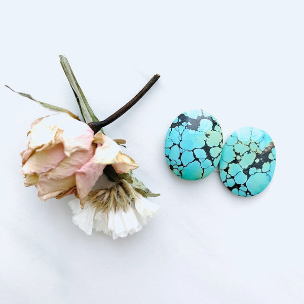 Medium Sea Green Oval Treasure Mountain Turquoise, Set of 2 Background