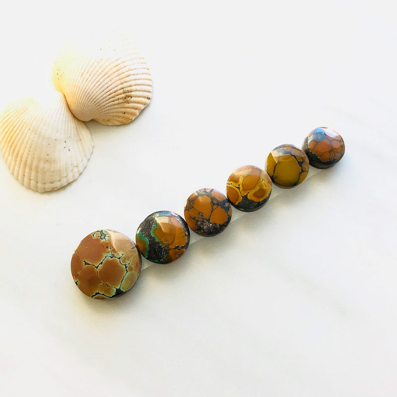 Small Round Bamboo Mountain Turquoise, Set of 6