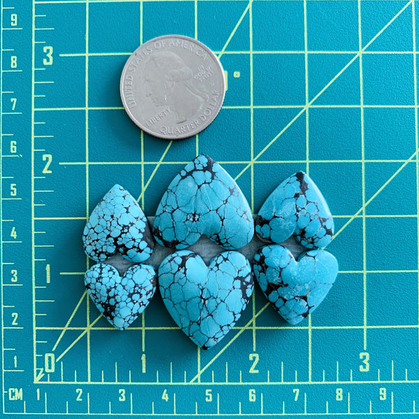 Large Sky Blue Heart Yungai, Set of 6 Dimensions