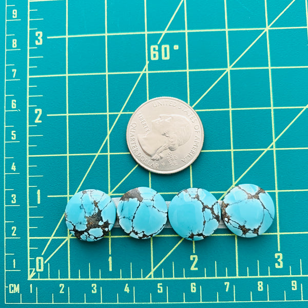 Small Sky Blue Round Yungai Turquoise, Set of 4 Dimensions