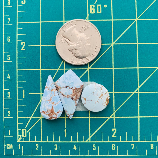 Medium Faint Blue Mixed Sand Hill Turquoise, Set of 3 Dimensions