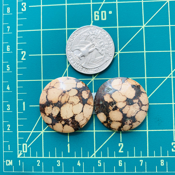 Large Earth Brown Round Treasure Mountain Turquoise, Set of 3 Dimensions