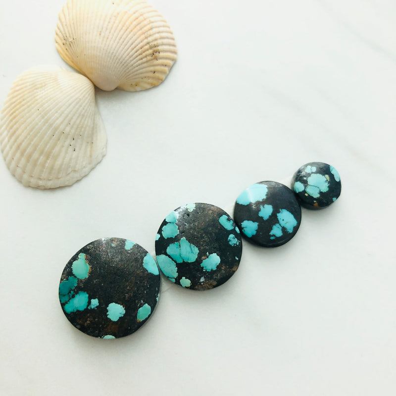 Small Round Yungai Turquoise, Set of 4