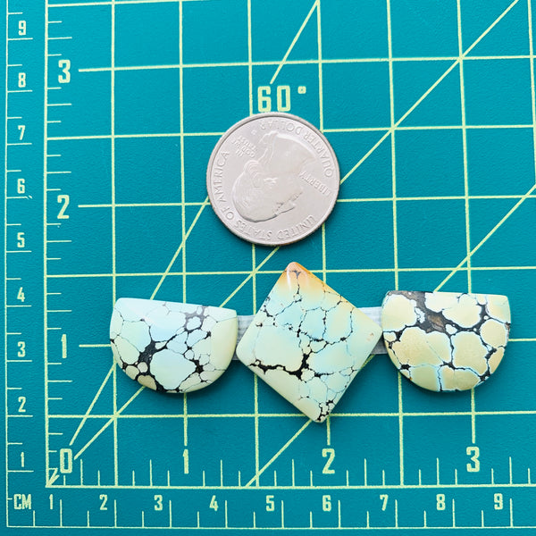 Large Light Yellow Mixed Treasure Mountain Turquoise, Set of 3 Dimensions